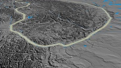 Glide over Mackenzie mountain range - glowed. Elevation map Stock Footage