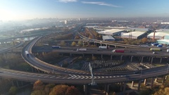 Low aerial tracking view of Spaghetti Junction in Birmingham, UK. Stock Footage