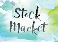 Stock Market Colorful Watercolor and Ink Word Art Stock Illustration