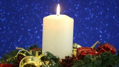 Beautiful Christmas Decorations With Lit Candle Stock Footage