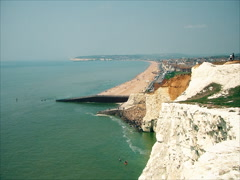 Seaford. Summer. Beach along the white cliffs Stock Footage