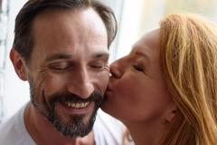 Loving couple together at home Stock Photos