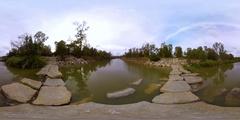 360VR timelapse video of water flow in Nahal Sorek Stock Footage