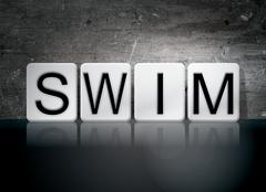 Swim Tiled Letters Concept and Theme Piirros