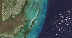 High-altitude overflight aerialBiscayne National Park and nearby Homestead FL Stock Footage