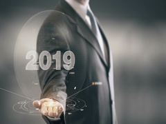 2019 Businessman Holding in Hand New technologies Stock Footage