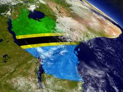 Tanzania with embedded flag on Earth Stock Illustration