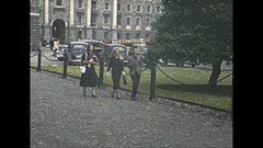 Vintage 16mm film, 1952, Dublin city b-roll, people walking about Stock Footage