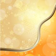 Golden Christmas card with translucent snowflakes Stock Illustration