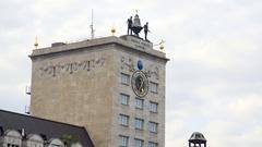 Kroch-Hochhaus clock tower building, medium shot, Leipzig, Germany Stock Footage