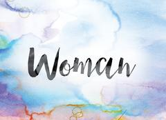 Woman Colorful Watercolor and Ink Word Art Stock Illustration