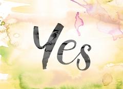 Yes Colorful Watercolor and Ink Word Art Stock Illustration