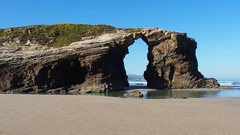 Beach of the Cathedrals in Ribadeo, Spain Stock Footage