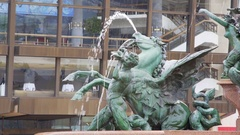 Mendebrunnen water fountain, close up on horse angel, Leipzig, Germany Stock Footage