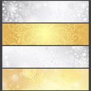 Set silvery and golden gradient winter banners Stock Illustration