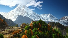 Himalayas mountain landscape. Buddhist monastery and Manaslu mount in Himalayas Stock Footage