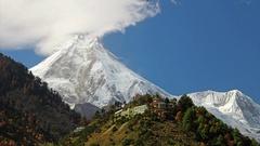 Himalayas mountain landscape. Buddhist monastery Stock Footage