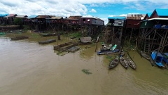 Aerial view of Kampong Khleang on Tonle Sap Lake in Cambodia Stock Footage