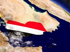 Yemen with embedded flag on Earth Stock Illustration