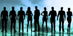 Silhouette of Business People Working Stock Illustration