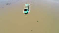 Aerial view of fishing and tour boats at Tonle Sap Lake in Cambodia Stock Footage