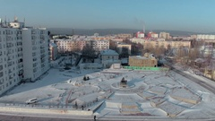 Lensk city, Russia - 01 December. Aerial shot of Lensk city panorama with Stock Footage