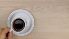 Drink a cup of black coffee. Stock Footage