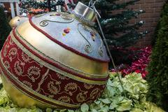 Close-up view of a giant Chrstmas tree ornament. Stock Photos
