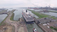 Drone filming a big cruise ship the MS Konigsdam (HAL) Stock Footage