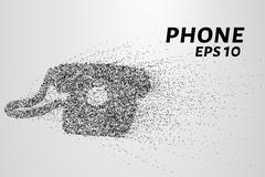 Phone from the particles. Old phone consists of circles and points. Vector .. Stock Illustration
