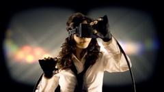 Virtual girl mu theater stage lights Stock Footage