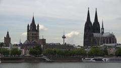 4K Beautiful Koln city panorama famous Cologne cathedral building silhouette day Stock Footage