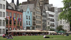4K Tourist people enjoy restaurant terrace of Koln old town tourism attraction Stock Footage