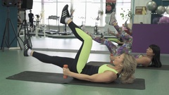 A group of girls engaged in aerobics. Fitness. Attractive active girl train your Stock Footage