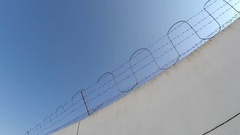 Fence in the prison of power of detention. Inner classic prison landscape. Stock Footage