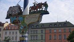 4K Viktualienmarkt symbol sign in Munich open air food market downtown shop ad Stock Footage