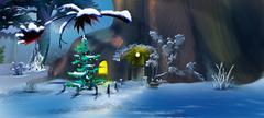 Christmas Tree near a Fairy Tale Gnome House Stock Illustration
