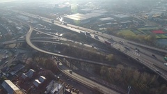 Panning aerial view of Spaghetti Junction in Birmingham, UK. Stock Footage