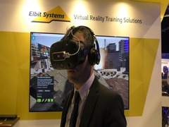 A man experiences Elbit Systems' VR military immersive Training Solutions Stock Footage