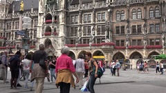 4K Tourist people enjoy Marienplatz Marys Square in Munich tourism attraction Stock Footage