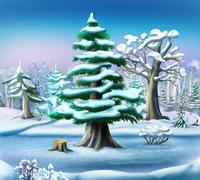 Snow-covered Pine Tree in a Winter Forest Stock Illustration