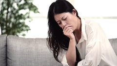 Sick Woman Woman Caught Cold and flu. Sneezing into Tissue. Virus and Medicines Stock Footage