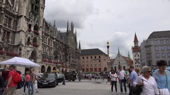 4K Tourist people relax in Marienplatz Marys Square Munich tourism attraction Stock Footage