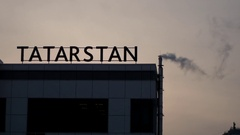 Kazan - inscription on the roof - Tatarstan, sunset silhouette with smoke from Stock Footage