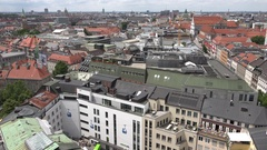 4K Aerial view of famous Munich skyline with red roof building residential house Stock Footage