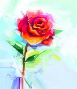 Abstract oil painting of spring flower. Still life of red rose Stock Illustration