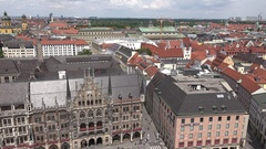 4K Panoramic view Munich beautiful cityscape ancient house building rooftop icon Stock Footage