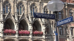4K Famous Marienplatz street sign in Munich town Marys Square german place icon Stock Footage