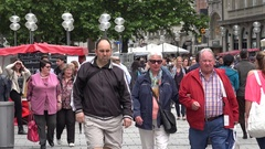4K Crowded pedestrian shopping road in old town Munich city population group day Stock Footage