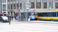 2 trams pass each other, Leipzig, Germany Stock Footage